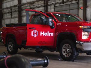 Helm Branding on Work Vehicle